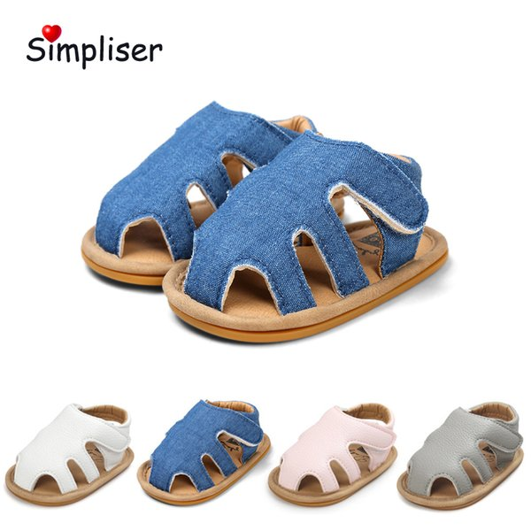 Toe Protect Leather Sandals For Newborn Baby Boys Girls Soft Anti-slip Rubber Sole Infant Prewalkers Crib Shoes Toddler Shoes