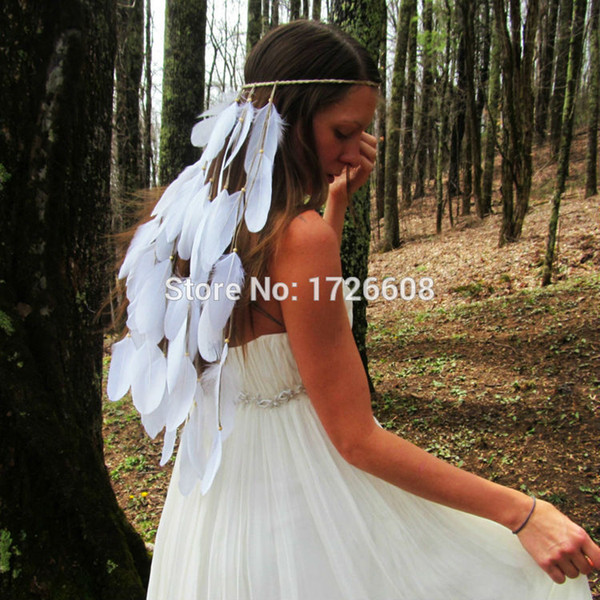 Fantastic Princess Elegant White Feather Headband Hair Accessories Bride Wedding Stage Performance Long Feathers Hair Extensions
