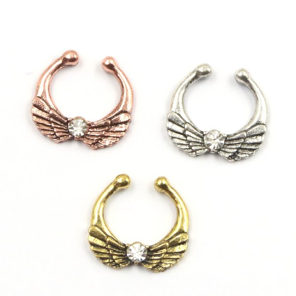 50pcs crystal wing septum jewelry nose rings and studs alloy plate gold and silver nose ring septum fake piercing N0045