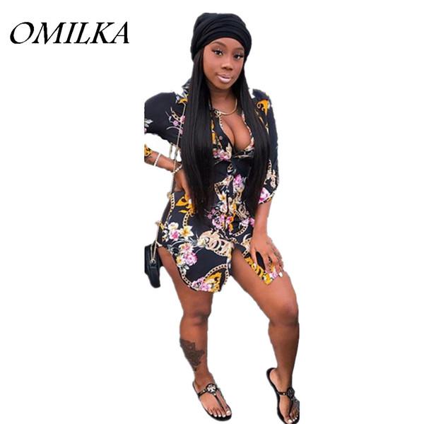 OMILKA 2018 Summer Women Three Quarter Sleeve Turn Down Collar Printed Cardigan Shirt Dress Casual Side Split Club Mini Dress