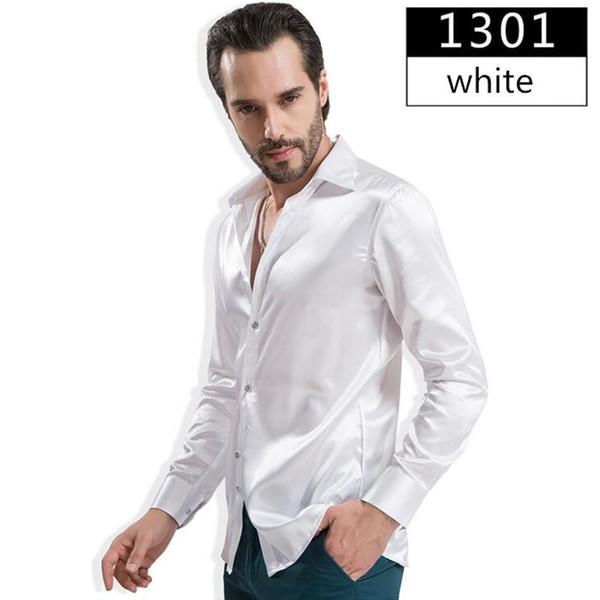 Men Shirt Fashion Emulation silk Shirt Satin Mens Long Sleeve Camisa Hombre Couples Wedding Dress