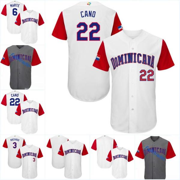 Men Dominican 2017 World Baseball Classic Jersey 22 Robinson Cano Jose Bautista Gregory Polanco Manny Machado Adrian Beltre Baseball Jerseys