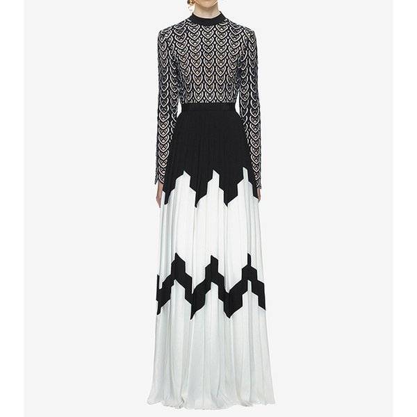 2019 Fashion Long Sleeves Evening Dress Lace Embroidered Pleated Hollow Formal Black And White Chiffon Prom Party Maxi Dress With Slit