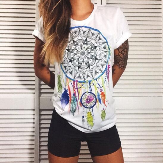 2 stücke / Kreative Mode Temperament Einfache Dreamcatcher Kurzarm Sommer Mode-Trend Persönlichkeit Drucken T-Shirt Tops Shirt