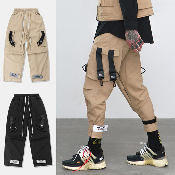 Strapback Mens Black Khaki Loose Fit Elastic Waist Cargo Pants Street Ankle Banded Pants Large Pockets Casual Pants Fashion Cargo Trousers