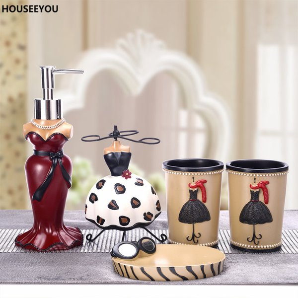 Fair Lady Bathroom Accessory Set Creative Fashion Soap Dish Lotion Dispenser Gargle Cup Toothbrush Holder Garden Home 5pcs /Set