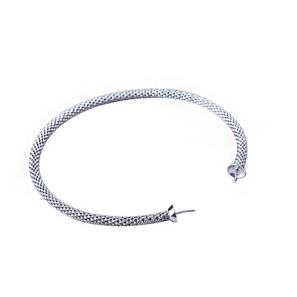 925 Sterling Silver Mulheres Pulseira 7-14mm Pérola ou Rodada Bead Semi Mount Pulseira Fine Jewelry Cor Ouro Branco