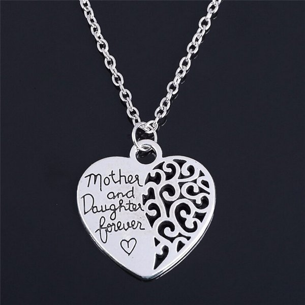 """2018 New Heart Love Mom Necklaces """"Mom and Daughter Love"""" Piercing Heart Pendant Silver Plated Mother Daughter Necklace"""