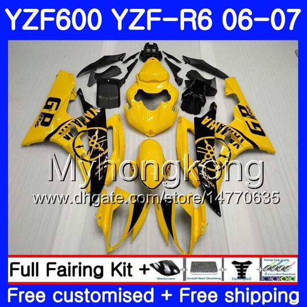 Body+Tank For YAMAHA YZF R 6 YZF 600 YZF-600 YZFR6 06 07 Frame 233HM.3 YZF-R6 06 07 YZF600 YZF R6 2006 2007 Fairings hot Yellow black Kit