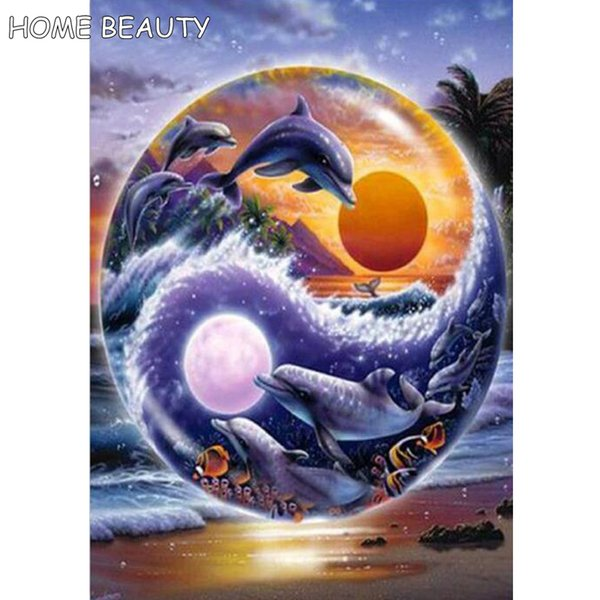 Dolphin scenery picture of rhinestones full square drill diamond painting cross stitch new mosaic embroidery with diamonds AS200