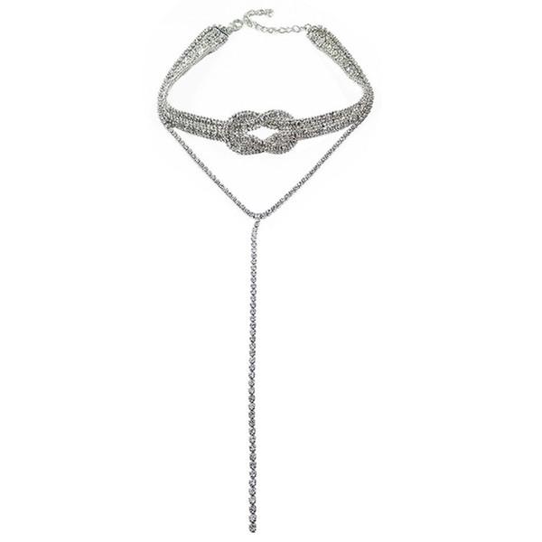2 цвета сверкающих горный хрусталь Chocker Ожерелье для женщин многослойные длинные ожерелье ювелирные изделия подарки