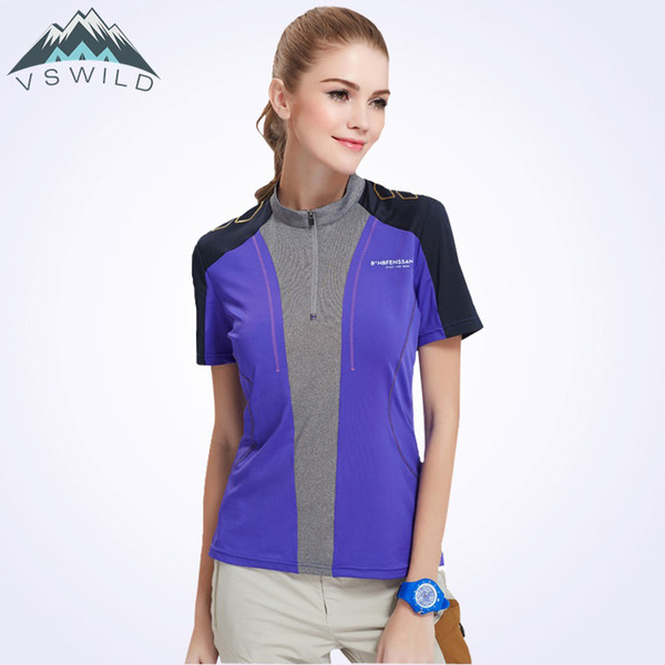 Hiking T-shirt Women Sport Shirt Short Sleeve Patchwork Fishing Outdoor Qucik Dry Zipper Tee Tranings Camping Camiseta Climbing