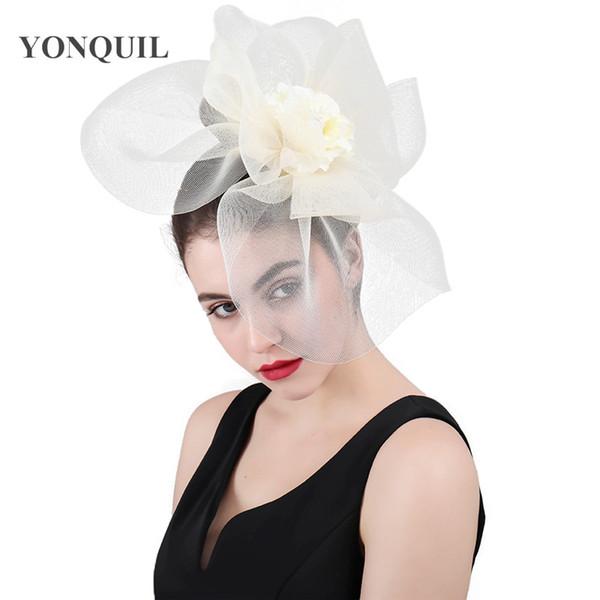 Women Mesh Flower Big Fascinator Hats Wedding Kenducky Derby Ascot Chapeau Bridal Tulle Occasion Headpiece fashion 2018 Ladies SYF417
