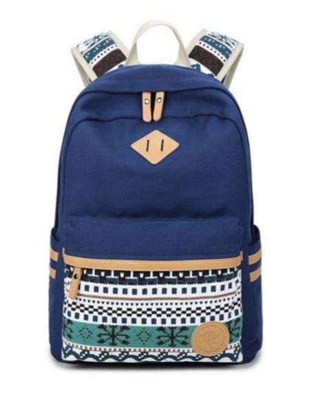 Brand Designer-New Female canvas printing college Canvas Backpacks Large School Bags For Teenagers Girls Travel Laptop Backbag Rucksack Gre