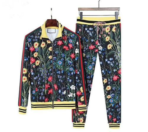 top popular 2019 hot brand fashion luxury designer fashion classic man printed cotton tracksuit winter designer white black jacket tracksuit 2019
