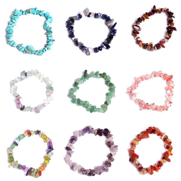 201810 Hohe Qualität Boho Kristall Kies Armband Amethyst Stretch Armreif Unregelmäßigen Naturstein Perlen Armband Modeschmuck Geschenk G848F