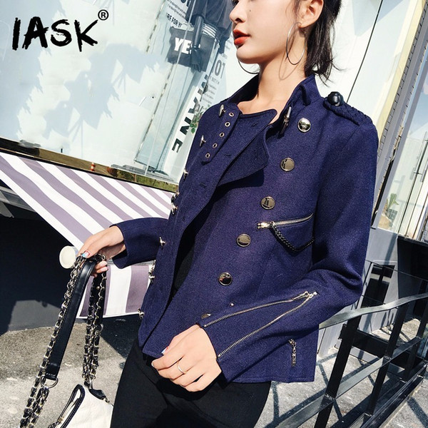 [IASK] 2018 Summer Autumn New Pattern Coat Double Breasted Full Sleeve Zipper Decoration Ladies Fashion Denim Jacket BC083