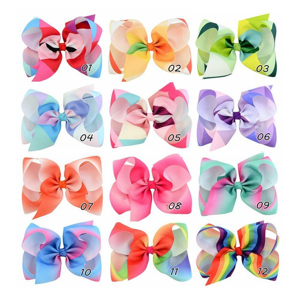 12pcs 6 Inch Large Rainbow Grosgrain Ribbon Bow With Clip Kids Cartoon Hair Clip Boutique Gradient Hair Accessories HD723
