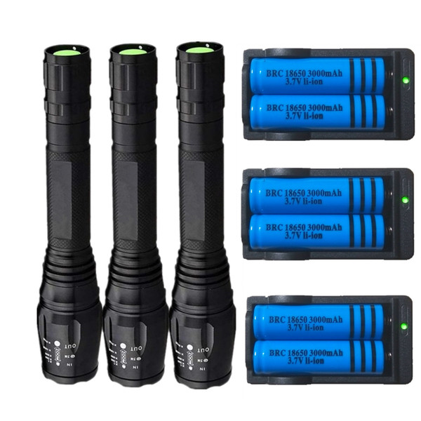3x 3800LM Led Flashlight 5 Modes Zoomable Cree XM-L Tactical T6 LED Torch Rechargeable + 18650 Battery + Charger