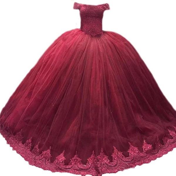 2018 Princess Bateau Lace Ball Gown Quinceanera Dresses With Appliques Tulle Sweet 16 Dress Plus Size Lace Up Vestido De 15 Anos BQ06