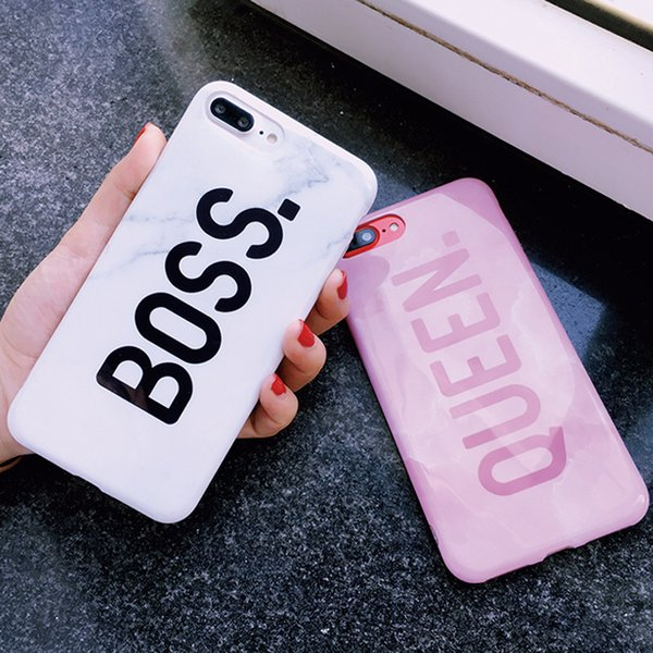 Couples Letters Boss & Queen Phone Case For iPhone XR XS Max X Fashion Glossy Marble Soft IMD Back Cover For iphone 6 6S 7 8 Plus