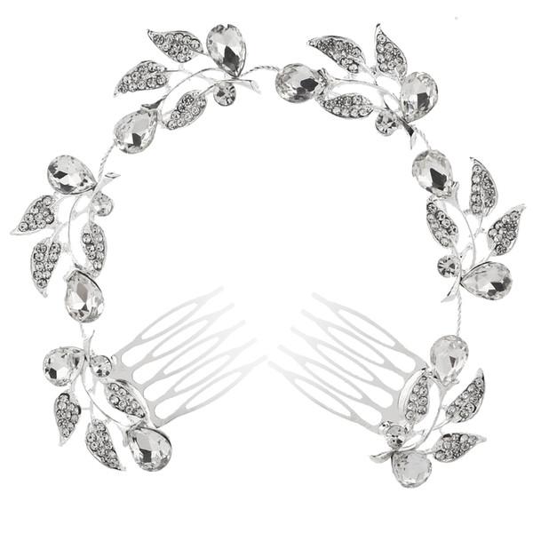 2018 Hotsale Feis романтический невесты длинные волосы орнамент полный алмазов цветы, листья, капли воды серебряный сплав волос гребень свадебный аксессуар