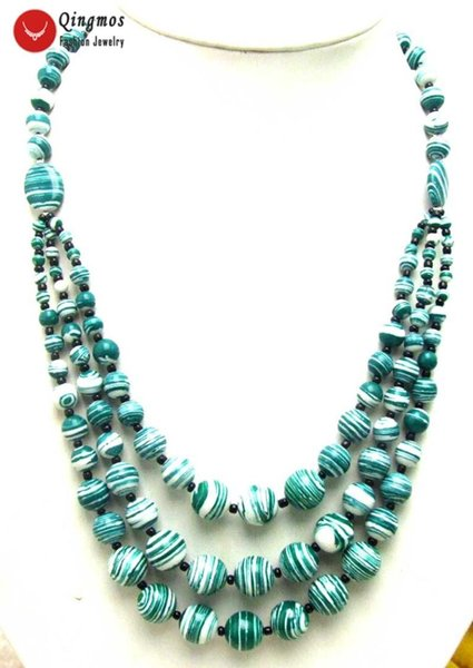 """Qingmos 3 Strings Natural Agates Necklace for Women with 4-12mm Round Green Zebra Stripe Agates Necklace Jewelry 20-22"""" nec5697"""
