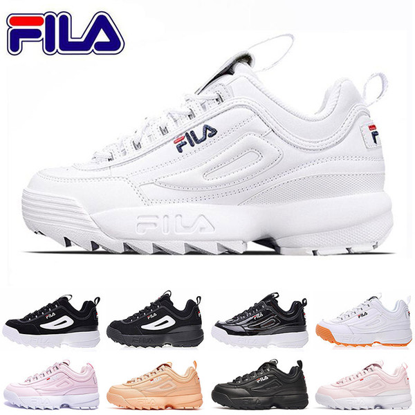 Original designer Fila Women running Shoes black white pink mens trainers special section sports sneakers increased casual shoe size 35-45