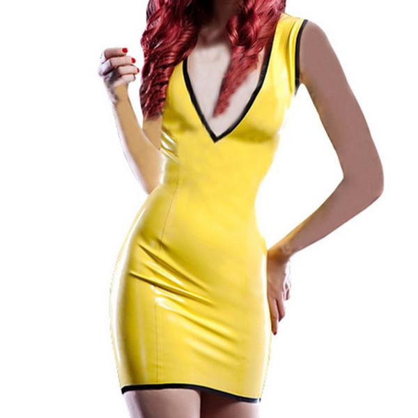 2018 novo design sexy senhora roupas de látex menina do sexo feminino fino amarelo com decote em V vestido handmade saia de látex uniforme desgaste do clube fetiche frete grátis
