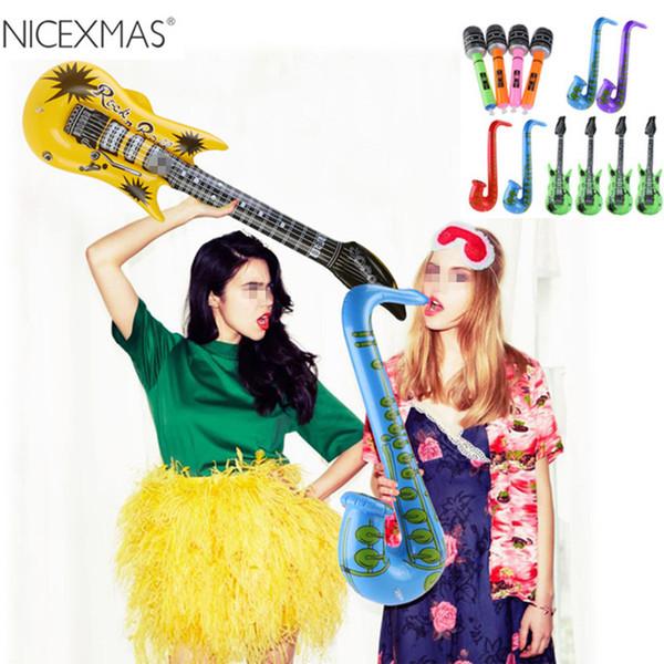 Outil Gonflable Guitare Gonflable Saxophone Microphone Musique Enfants Jouets Ballons Partie Décoration (Couleur Aléatoire)