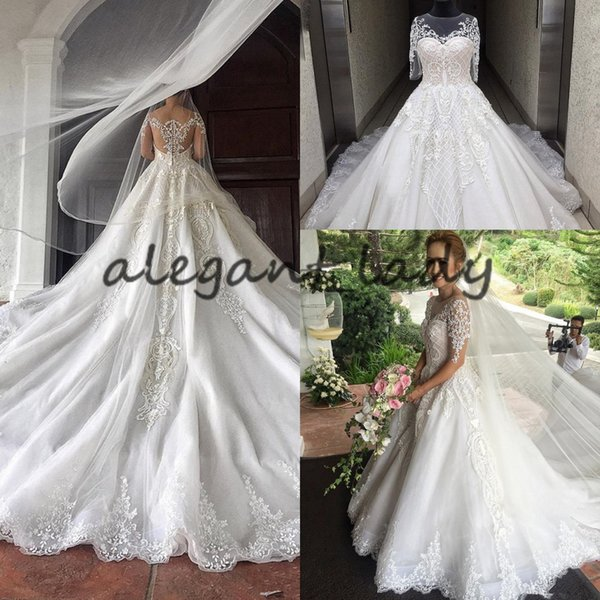 Fairy Half Sleeves Wedding Dress Lace Tulle Ruffles Bridal Gowns Cathedral Train