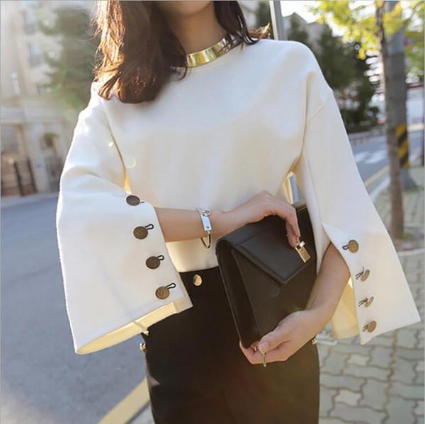 2018 manica flare autunno o-collo diviso signora femminile top maglione donna vestiti nuova moda coreana nuovo