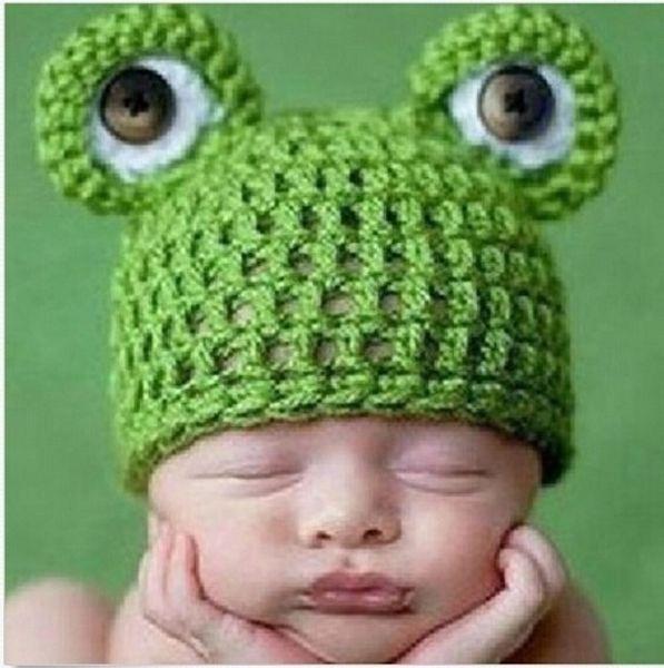 Baby Infant Newborn Handmade Crochet Knit Cap Frog Hat Costume Photograph Prop G