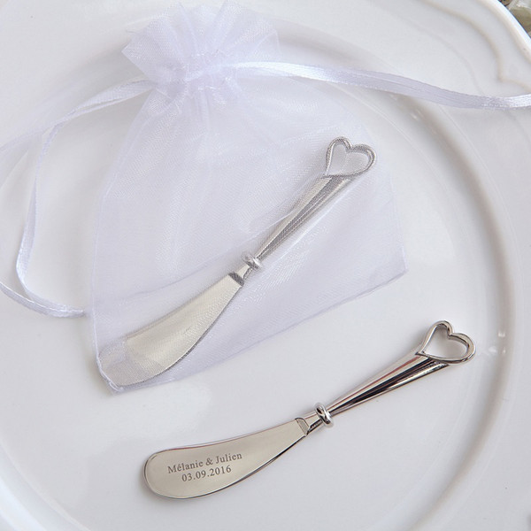 Wedding maple leaf love butter knife with yarn bag cream knife can customize simple information W8166