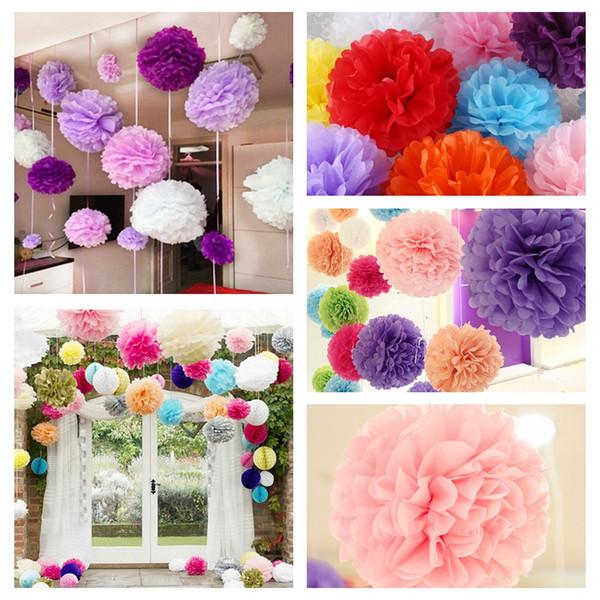 """ball pompom 15PCS/Lot 4"""" 6"""" 8""""(10 15cm 20cm) DIY Tissue Paper Pom Poms Mix Color Flower Balls Pompom For Wedding Party"""