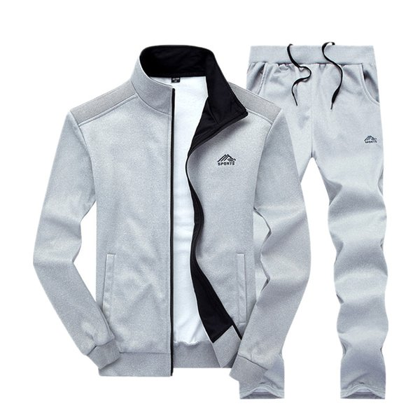 Men Sportswear 2 Piece Sets New Fashion embroidery Men Tracksuits Outwear Male Sweatshirts Jacket+Sports pants Track Suit