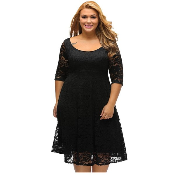 Designer Autumn Dress Plus Size Women Clothing White Black Floral Lace  Sleeved Fit And Flare Curvy Knee Length Casual Party Dress Ladies Dressed  White ...
