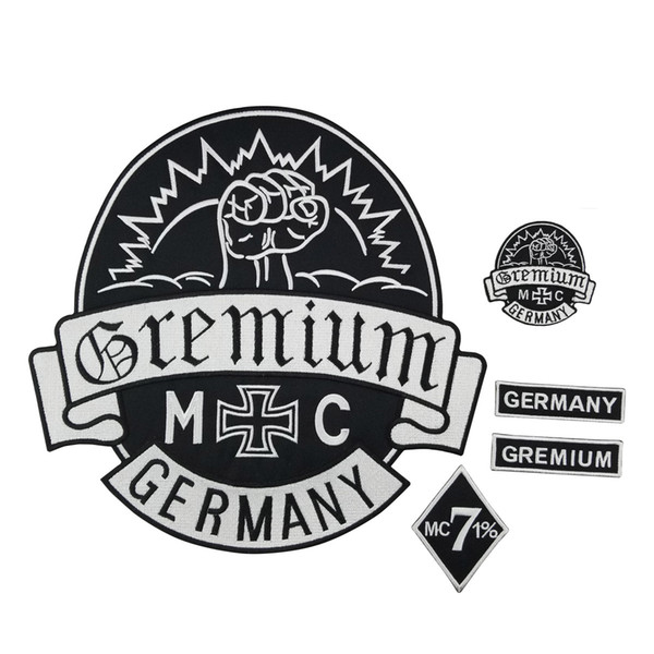 Hot Sale GREMIUM PATCH MC Embroidered Full Back Large Pattern For Rocker Club Biker MC Patch Free Shipping