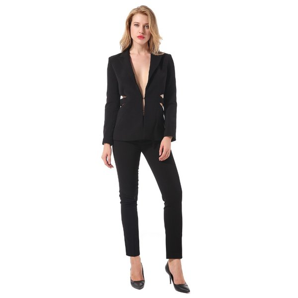 2018 New Women Suits Blazer Pants 2 Piece Set For Women Formal Ladies Office Business Long Pant Suits Long Sleeve V Neck Blazer
