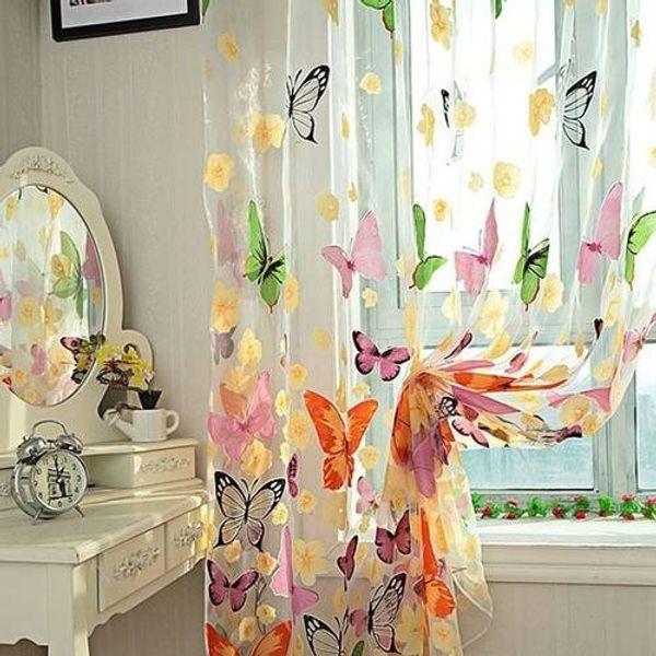 Schmetterling gedruckt Tulle Voile Tür Fenster Balkon Sheer Panel Bildschirm Vorhang Hause Zimmer hängen Dekor Kinderzimmer Vorhang