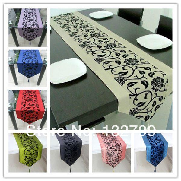 "Raised Flock Taffeta Flower Table Runner Blossom Damask Tassel Bed Table Cloth Decor 79""x13"" 12Colors"