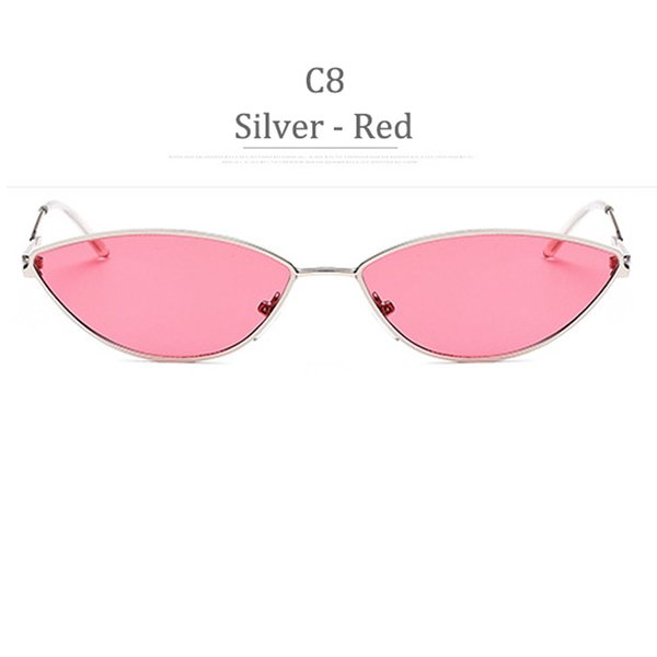 C8 Silver Frame Red Lens