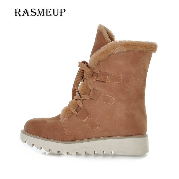 92cfb4d46925 RASMEUP Women's Winter Boots Women Lace Up Fur Thick Warm Flat Snow Boots  2017 New Woman