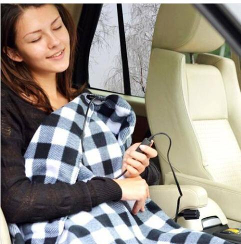 Hot Wholesales Free shipping 12V Electric Heated Car Van Truck Fleece Cosy Warm Winter Blanket Cover Heater