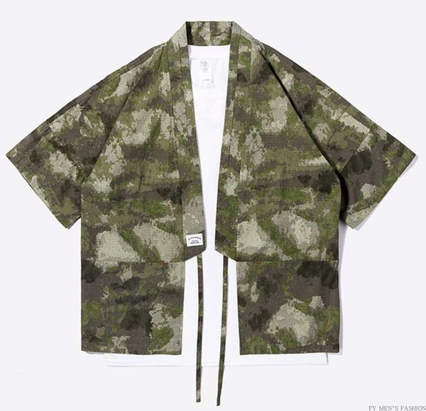 New Designer Japanese Streetwear Style Mandarin Robes for Men Jackets Camouflage Mens Clothes Camou Kimono Shirt
