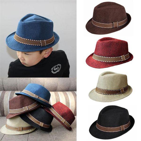 Kids Fedora Hats Boy Girl Unisex Cap for Children Contrast Trim Cool Jazz Chapeu Feminino Trilby Sombreros