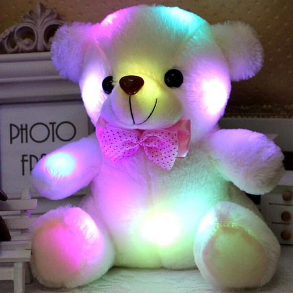 best selling Colorful LED Flash Light Bear Doll Plush Animals Stuffed Toys Size 20cm - 22cm Bear Gift For Children Christmas Gift Stuffed Plush toy