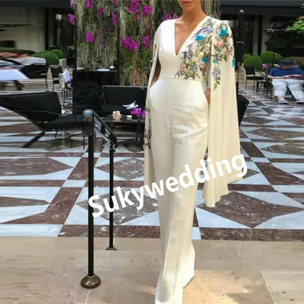 Embroidery Jumpsuits Evening Dresses with Capes Turkish Women Formal Dresses Long Sleeves Robe V Neck Dubai Prom Party Gowns Kaftan Soiree