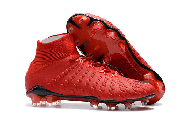 Top 2018 Football Boots Red Colors Soccer Cleats Original Hypervenom Phantom III DF FG Neymar Mens Soccer Shoes High Ankle Sports Sneaker