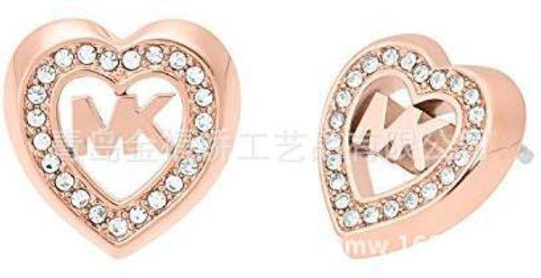 2018 serie M de oro rosa y plata con diamante Tambor en forma de corazón cara llena de diamantes pendientes selección de tres colores Pendientes